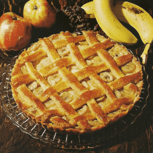 Aprikosenkuchen und Bananen - Gittertorte
