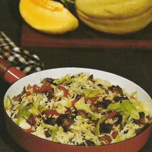 Hähnchenleber in Risotto und Risotto mit Frühstücksspeck