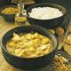 Curry-Kabeljau und Kabeljau-Auflauf frische Fische auf den Tisch
