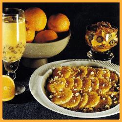 Flambierte Honigapfelsinen und Zitronensorbet und Zitronencreme