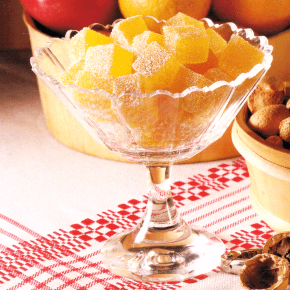 Gelee-Konfekt und Schokoladen-Früchte