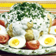 Käse-Blumenkohl mit Eiern und Tomaten und Kalter Spargel in Eiersoße