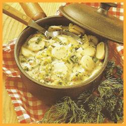 Lauchkartoffeln in Kräutersahne und Gebackener Chicoree