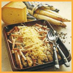 Spargel mit Schinken und Käse gratiniert und Mandel Spargel
