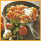 Würziges Tomaten-Gemüse und Tomatensülze mit Shrimpsmayonnaise