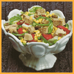 Bunter Thunfisch-Salat und Paprika-Nudel-Salat mit Thunfisch