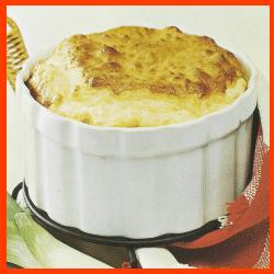 Lauch-Käse-Soufflé und Spaghetti-Schinken-Gratin