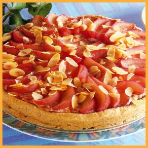 Birnen-Marzipan-Kuchen und Tamarillo-Schnitten