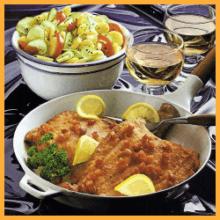 Speckschollen mit Kartoffelsalat und Fischragout auf Reis